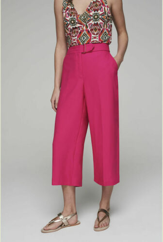 Long Tall Sally Tall Womens Soft Crepe Wide Leg Crop Trouser in Shocking Pink