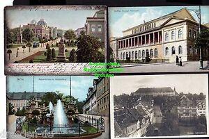 118311-8-AK-Gotha-Orangerie-1906-Rathaus-1914-Wasserkunst-Arnoldiplatz-Hauptpost