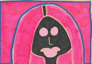 Original-ACEO-Painting-Drawing-by-Jay-Snelling-Outsider-Art-Brut-Woman
