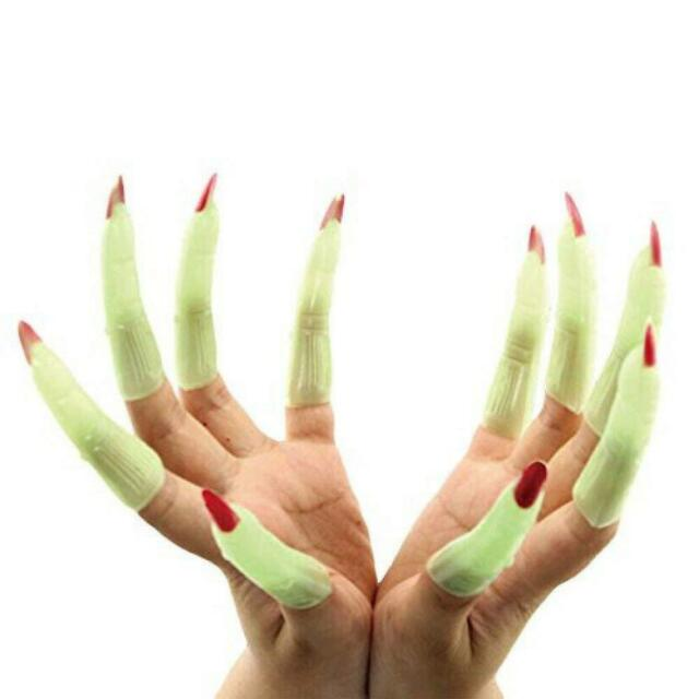 Halloween Witch Fingers Fake Nails | Green Glow-in-the ...