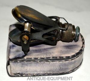 Antique-brass-travelling-monocular-binocular-telescope-nautical-with-leather-box