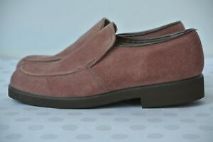NEW-Hush-Puppies-Vintage-Womens-Sz-7-M-Pink-Suede-Leather-Slip-On-Loafers-Flats