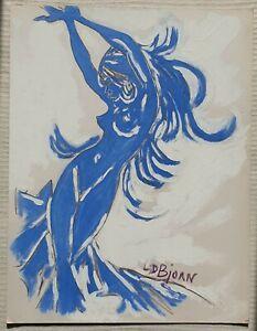 L-D-BJORN-1907-1989-Dr-Louis-DONNET-original-signed-oil-painting-Female-Dancer