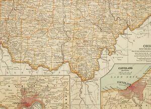 Details zu 1903 Antik Landkarte Southern Ohio Cincinnati Hamilton Clinton  Hecht Cleveland
