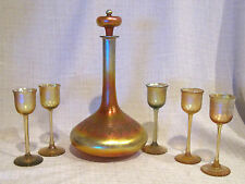 Signed Tiffany Favrile Decanter and Cordial Glasses with Grape Motif