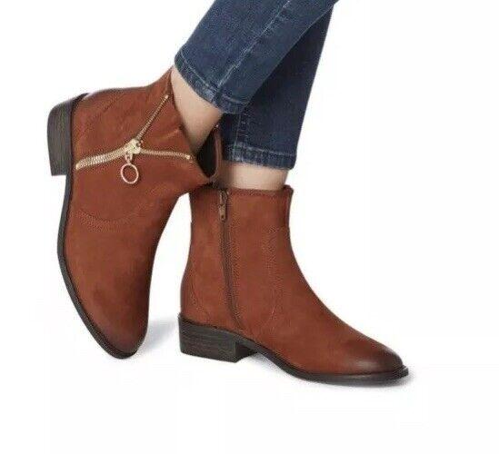 B160Chance Sm - Tan Zip Detail Ankle Boot Size 11-41 RRP