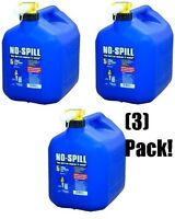 (3) No Spill 1456 5 Gallon Carb Compliant Blue Kerosene Fuel Can Containers