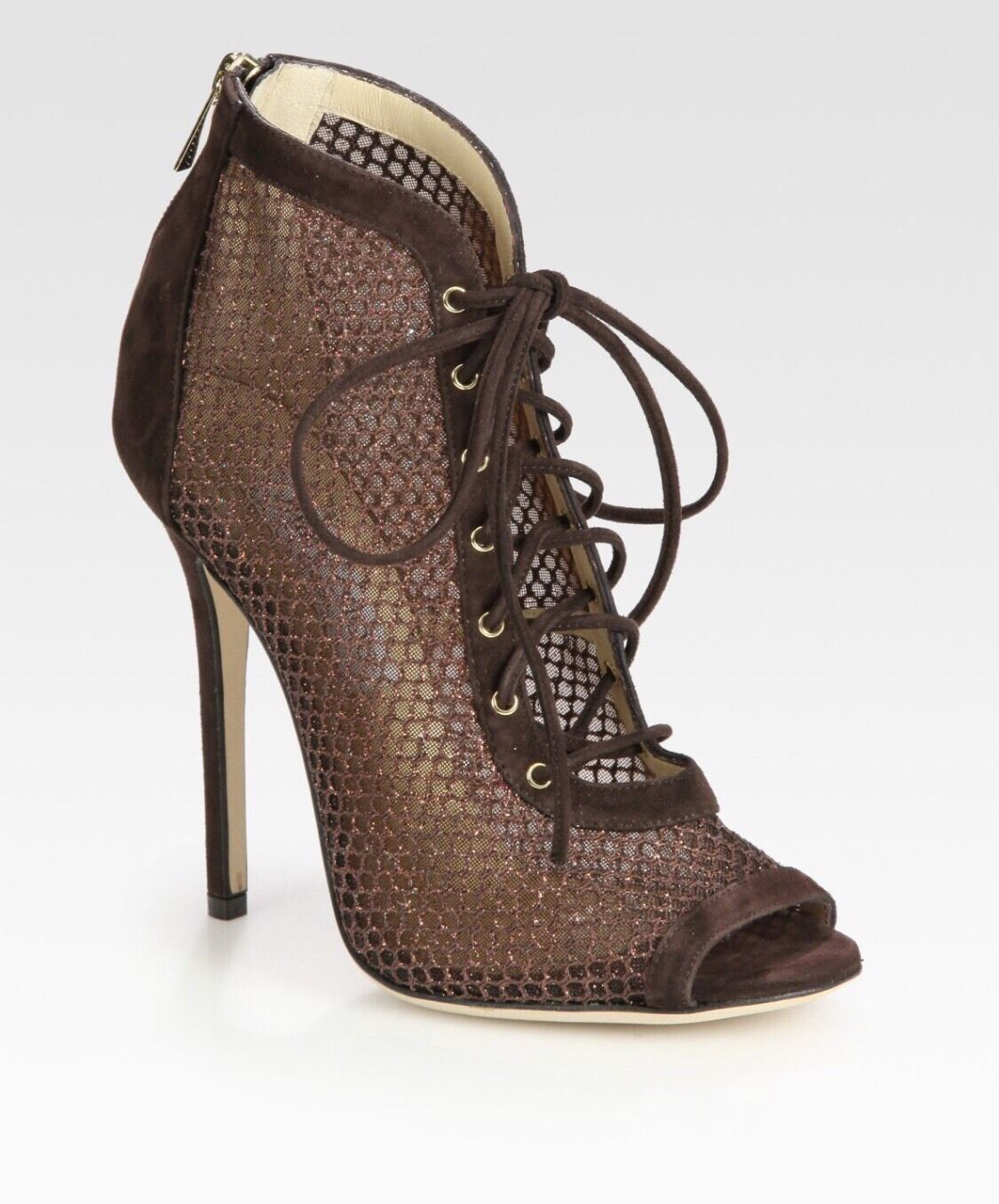 Jimmy Choo Brown Tegan Lace Up Suede and Glitter coated Mesh Peep Toe shoes.