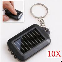 10pcs Mini Keychain Light Lamp Solar Power Rechargeable 3 Led Flashlight Torch