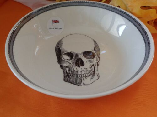 ROYAL STAFFORD SKULL LACE HALLOWEEN SOUP PASTA SALAD BOWLS SET OF 4 NEW ENGLAND