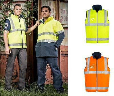 Syzmik Day Night Fleece Lined Vest ZJ354 Hi Viz S-5XL,7XL Tradie,Men,Workwear