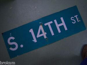 "Vintage ORIGINAL MAPLE ST Street Sign 36/' X 12/"" White on Green"