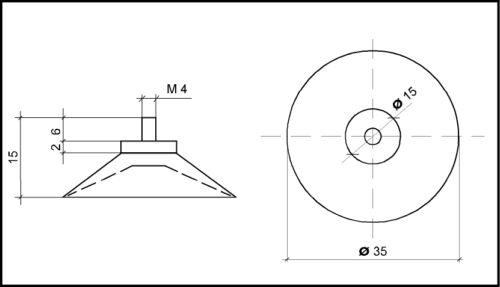 8 x Saugnapf mit Gewinde Ø 35mm M4 x 6mm mit Rändelmutter//Saugnäpfe//Haftsauger