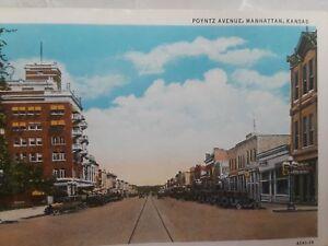 Details About Vintage Postcard Autos Poyntz Avenue Manhattan Kansas Street Scene Old Cars