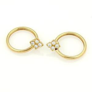 Image Is Loading Cartier 18k Yellow Gold Hindu Diamond Fl Hoop
