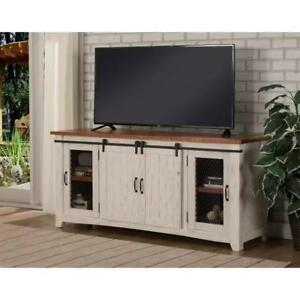 Details About New Rustic Wood 2 Sliding Barn Door 65 Antique White Tv Console Cabinet Stand