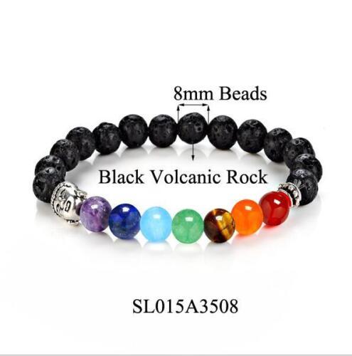 Pierre naturelle 8 mm Bracelet Bouddha Tête Perles Bracelet Femmes Hommes bonne chance coloré