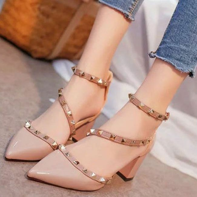 a18093c6b68 Women Pumps Rivets Sandals Comfortable Middle Ladies Shoes Footwear ...