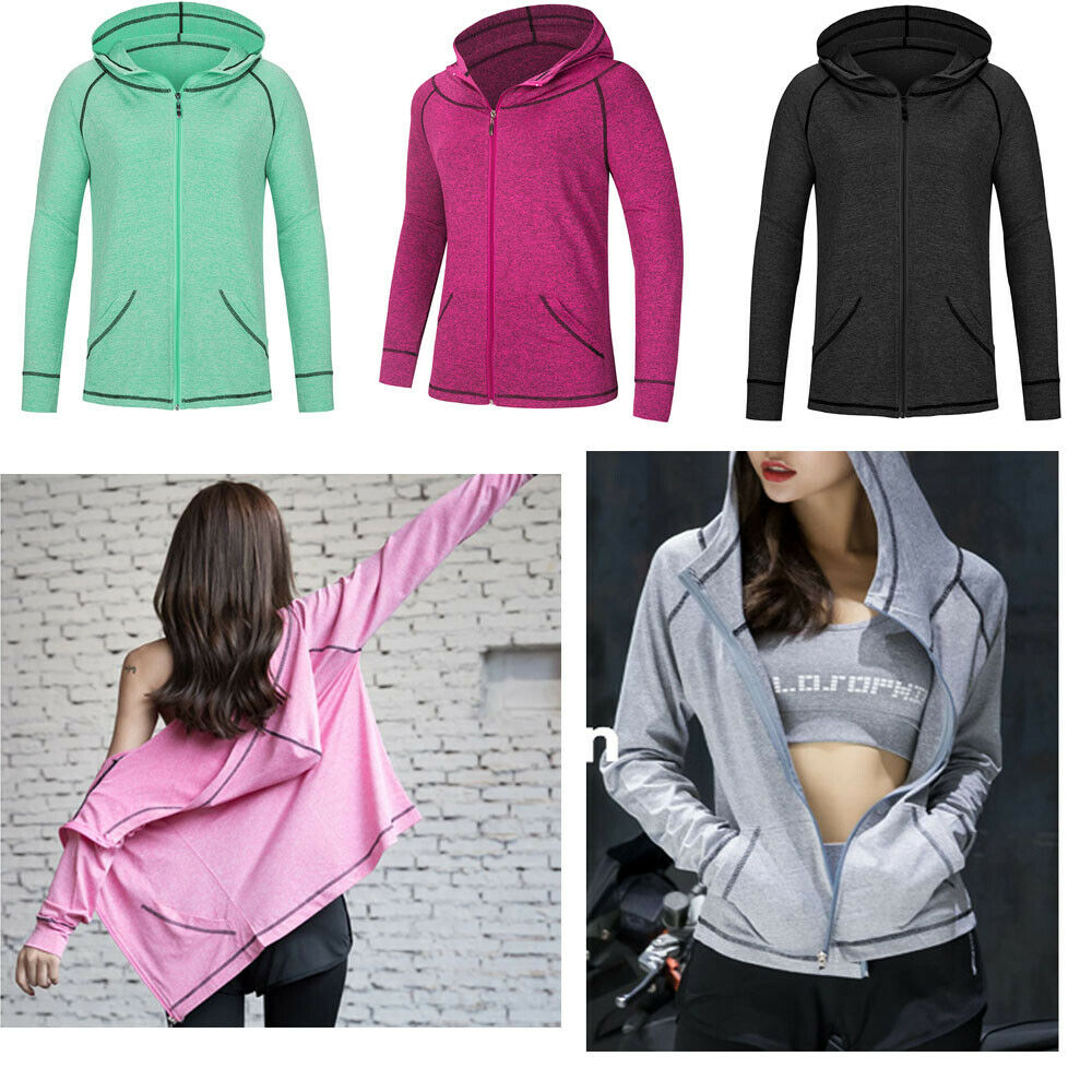 Womens  S-3X Athletic Workout Sport Jacket Zip Solid GYM Hoodie Jumpsuit Cloth