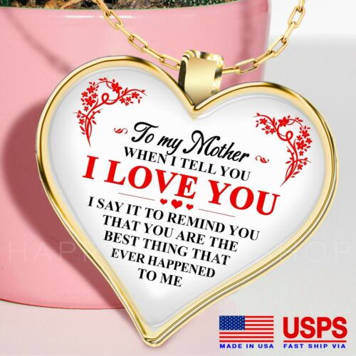 2 Mother/'s Day Chain Gift Ver Necklace Birthday Gift for Mom I Love You