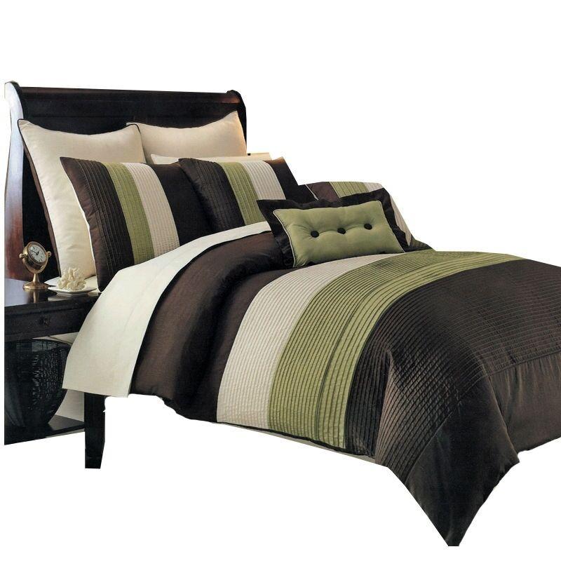 Hudson Bedding Comforter Set, Sage 8-Piece Luxury 100% Microfiber Comforter Set