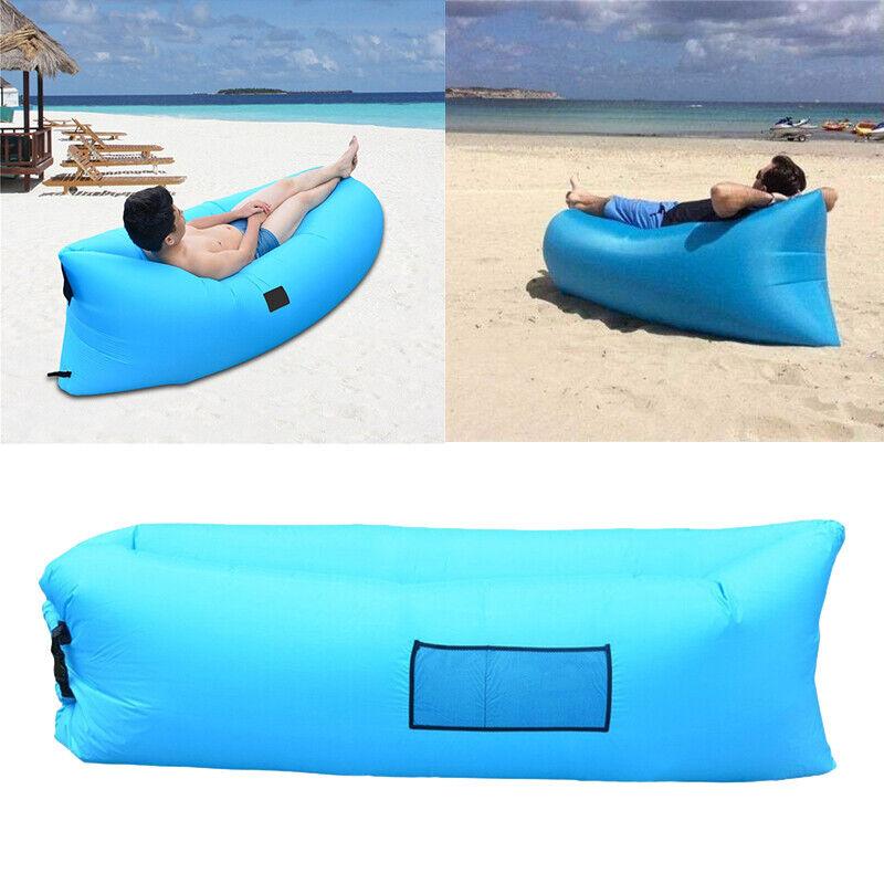 Inflatable Lazy Air Bed Lounger Couch Chair Sofa Bean Bag Hangout Camping Beach