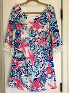28ecf530a3ea83 New Lilly Pulitzer Resort White She She Shells HARBOUR TUNIC Dress S ...
