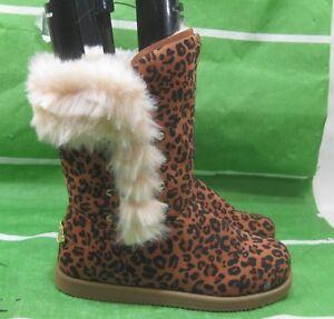 de6a53f2c62 new ladies Cheetah Print Winter Flat Ankle Boots Fur Inside Button ...