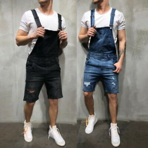 Mens-Denim-Short-Knee-Length-Jumpsuits-Bib-Pants-Overalls-Shorts-Work-Jeans-HO
