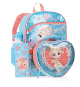 "DISNEY FROZEN ANNA ELSA 16/"" 5-Piece Backpack Set w// Insulated Lunch Bag Bottle"