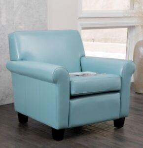 Details about Light Blue Leather Oversized Club Chair Accent Chairs Living  Room Furniture NEW