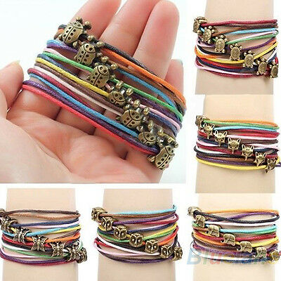 Women Men Punk Multi-Layer Faux Leather Rivet Stud Bracelet Wristband Handsome