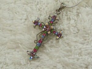 Silvertone-Pastel-Crystal-Rhinestone-Cross-Pendant-Necklace-D10