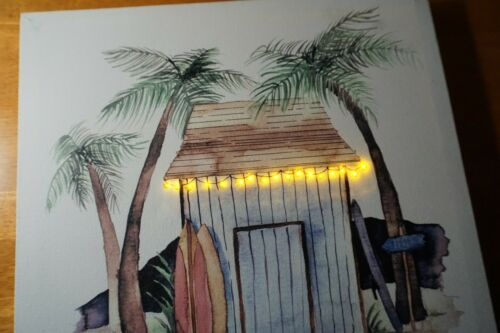 Tiki Bar Surfing Sign LIGHTED Flicker Flame Surfboard Tropical Beach Home Decor