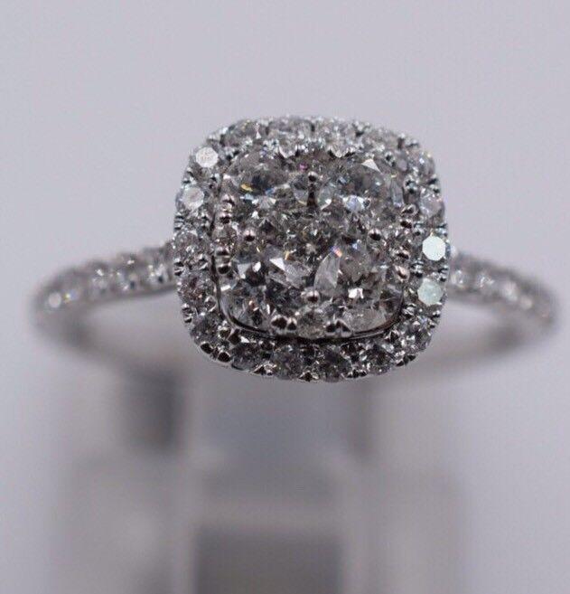 14k White gold Diamond Halo Engagement Ring .84ct