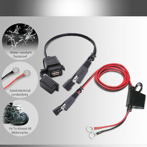 mictuning 2 1a motorcycle sae to usb adaptor charger wiring harness rh ebay com USB Power Wires USB Power Wires