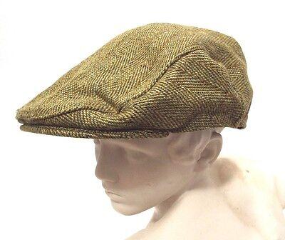 New English Heritage Gentleman/'s Green Derby Tweed Flat Cap XS S M L XL XXL XXXL