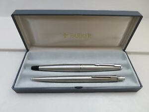 Boxed Parker 45 Flighter Fountain Pen & Pencil Stainless Steel Set - Mint! Mvyrquf0-08000939-423809257