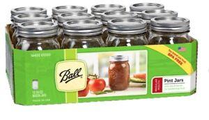Ball-Reg-Mouth-Clear-Glass-Mason-Jars-16oz-Pint-Canning-Preserve-Lids-12-Set-USA
