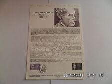TIMBRE PLANCHE PREMIER JOUR JACQUES MONOD 1910-1976   A 1 87 109         G26