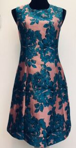 BNWT-New-Rrp-89-Monsoon-Jules-Teal-Pink-Gold-Floral-Shift-Dress-Size-14