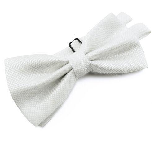 Pochette de costume blanche en soie mélangée noeud papillon homme enfant Mariage