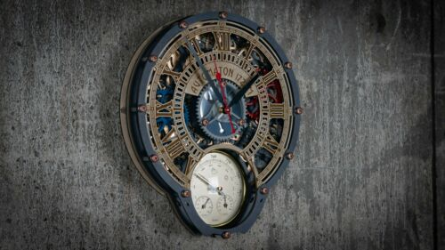 Automaton Wall Clock 1722 Weather Station HANDCRAFTED moving gears steampunk