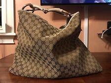 Auth Monogram Gucci Horsebit Hobo Purse Hand Shoulder Bag XL Canvas 113900214397