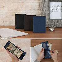 Mens Wants Leather Money Clip Slim Half Wallet Bifold Cards Holder Classic Purse