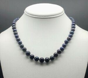 Vintage-Genuine-Akoya-Pearl-Necklace-Jet-Black-Graduated-LARGE-ROUND-Pearls