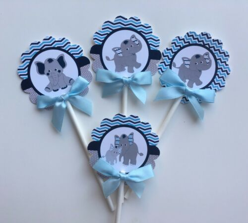 elephant  cupcake toppers// light blue and navy blue elephant// cupcake toppers