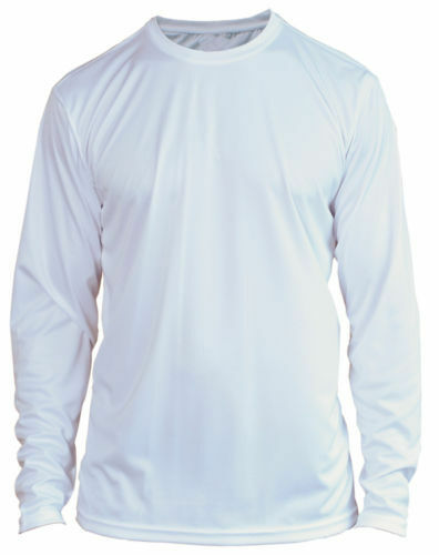 White Microfiber Long Sleeve UPF SPF Sun Protection Boating Fishing Shirt