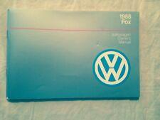 Vw 1988 Fox Owners Manual