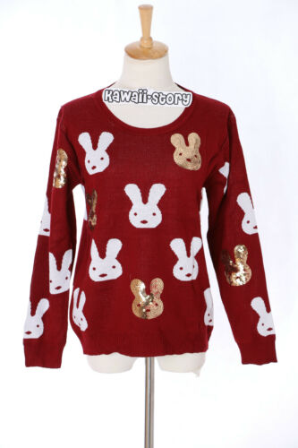 XS-S Pullover rot red Hase Bunny Rabbit Paillette Japan Trend Fashion TH-14 Gr